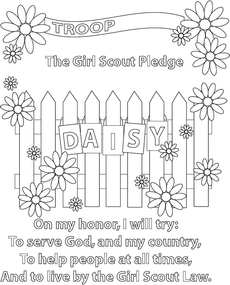 Girl scout pledge coloring page great when they earn the for Girl scout coloring pages for daisies