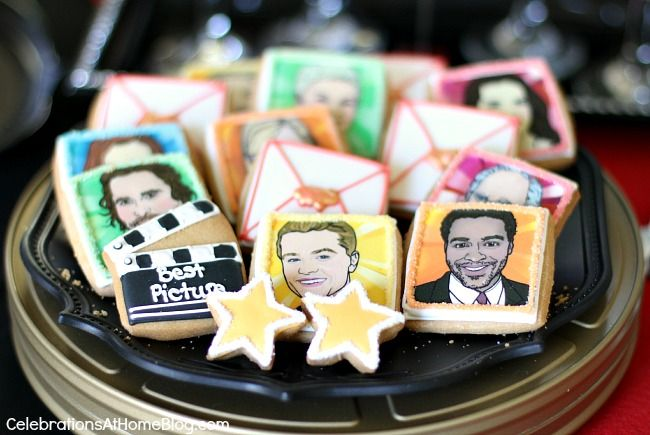 Oscars theme party ideas; Cookies by Eleni's Cookies #oscarsparty
