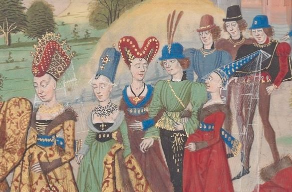 Agremont & hermit detail, 1462-68, Regnault de Montauban vol3, Ms 5074, Bibl Arsenal. One of the better sources for 2 kinds of rolled hennin. --- FOUR different hats, all of which could be worn by fashionable ladies in the same year --- from left to right... Truncated hennin with roll --- Truncated hennin --- Heart shaped hennin --- Pointy hennin