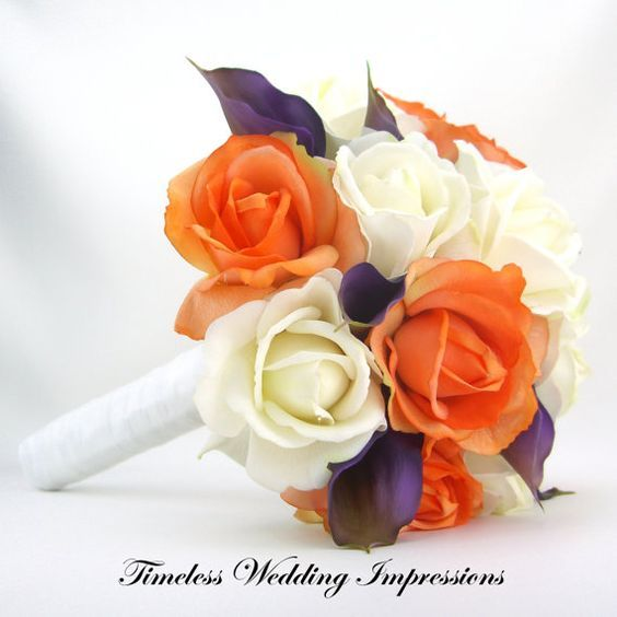 Coral Wedding Bouquet Roses Purple Calla Lilies Real Touch Silk Wedding Flowers White