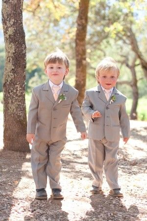 Ring bearers in suits with salmon colored ties | photography by http://juliemikos.com/