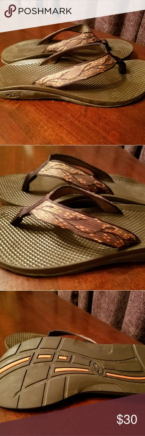 Chaco Flip Flops Cherry Blossom Brown Women's Chaco USA flip flops with brown ecotread sole and cherry blossom webbing. In excellent condition, virtually no wear. Size 10. Chaco Shoes Sandals