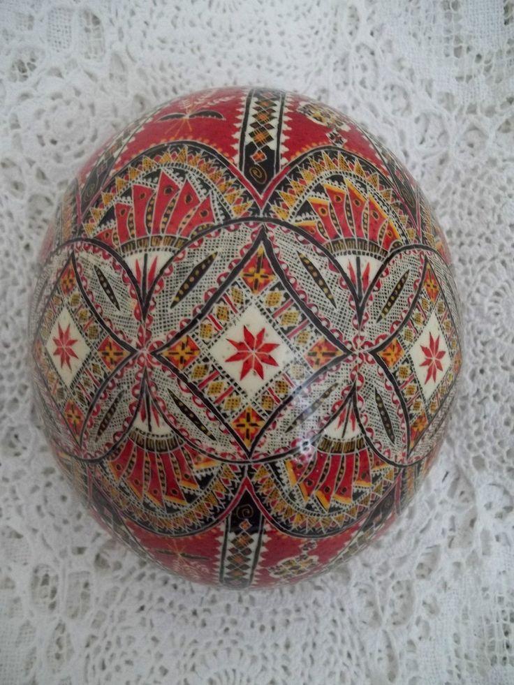 1 Romanian Romania Handmade Pysanky Pysanka Batik Easter Large Ostrich Egg | eBay