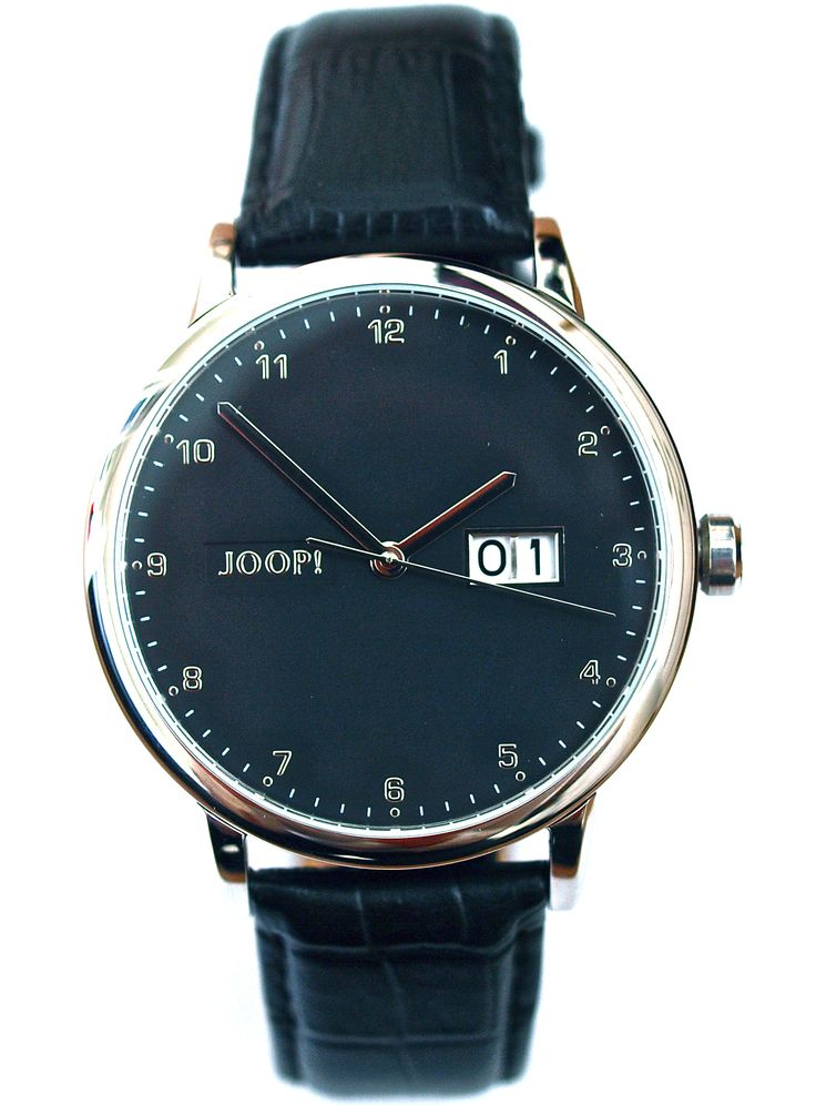 This JOOP! watch stands as a symbol for German functional design with a large diameter and big date €189,- for €95,- www.megawatchoutlet.com