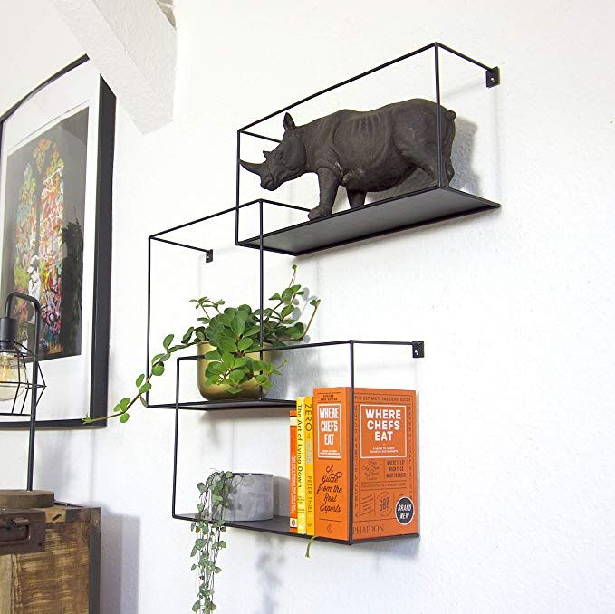 Kimisty Set Of 3 Metal Intersecting Floating Shelves Decorative Large Square Wall Mounted Shelf Free Floating S Floating Shelves Wall Mounted Shelves Decor