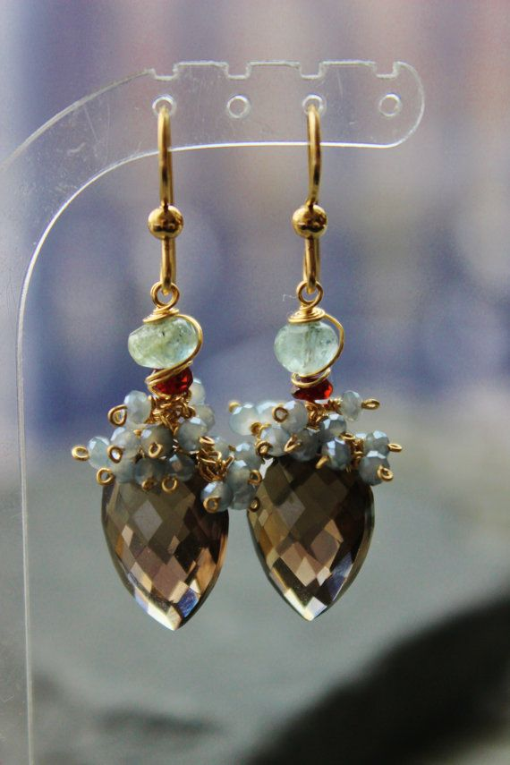 Smokey Quartz Gemstone EarringsAquamarine by Sylviajewelry