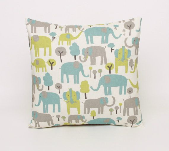 Elephant Pillow Covers 14x14 Gray Blue Green and Cream Nursery Pillow Cushion Cover Throw Pillow  Elephant Pillow Sham Kids Room Nursery on Etsy, $14.00
