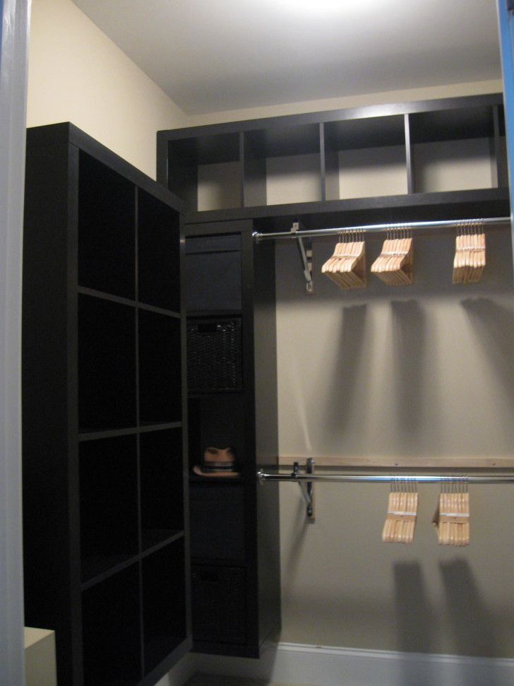 Fascinating Closet Systems Diy With Modern Design. Floating Black Wooden  Closet With Many
