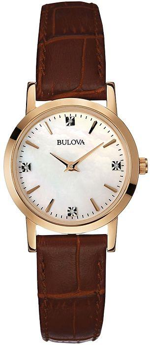 Zegarek damski Bulova Diamond 97P105  z perłową tarczą i diamentami w miejscu czterech indeksów  http://www.zegarek.net/zegarki/damskie/index.html