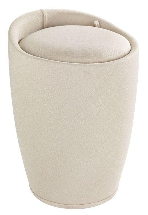 Der trendige Badhocker und Wäschesammler Candy ist aus stabilem ABS-Kunststoff gefertigt. Der Stoffbezug aus Polyester mit der edlen Leinenoptik in beige macht das moderne Accessoire zum Hingucker in jedem Bad. Auch als Wohnhocker oder im Schlafzimmer bestens geeignet.  Viel Stauraum für Wäsche bietet der praktische Badhocker unter der Sitzfläche. In dem herausnehmbaren Wäschesack finden dekorativ 20 Liter Wäsche Platz bis zum nächsten Waschgang.  Die großzügige, gepolsterte Sitzfläche lädt…