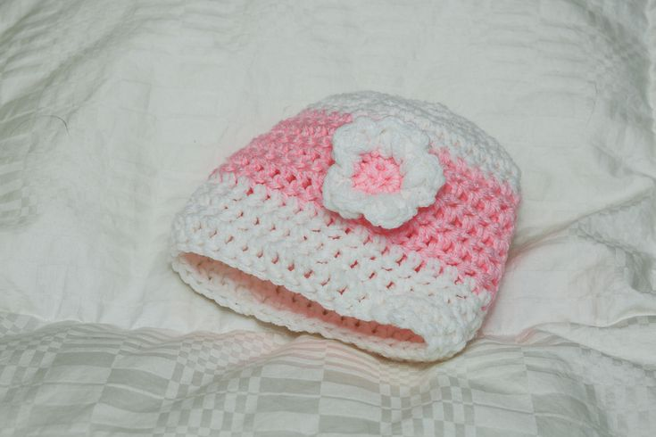 Crocheted 2 color beanie with 2 color flower Customizable colors and sizes infant to adult
