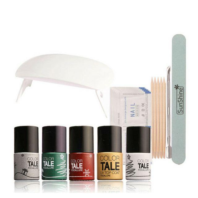 23Pcs UV Nail Gel Polish Kit with Nail Cleaner Remover Tools & Sunmini Led Lamp