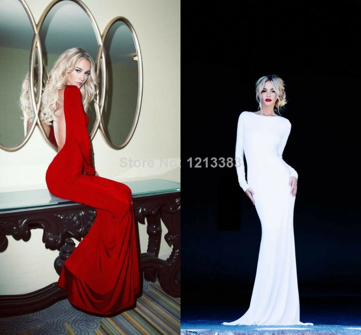 Popular Custom High Neck Sexy Long Sleeve Evening Gowns Red White Mermaid Open Back Prom Dresses Fast Shipping $115.00 - 135.00