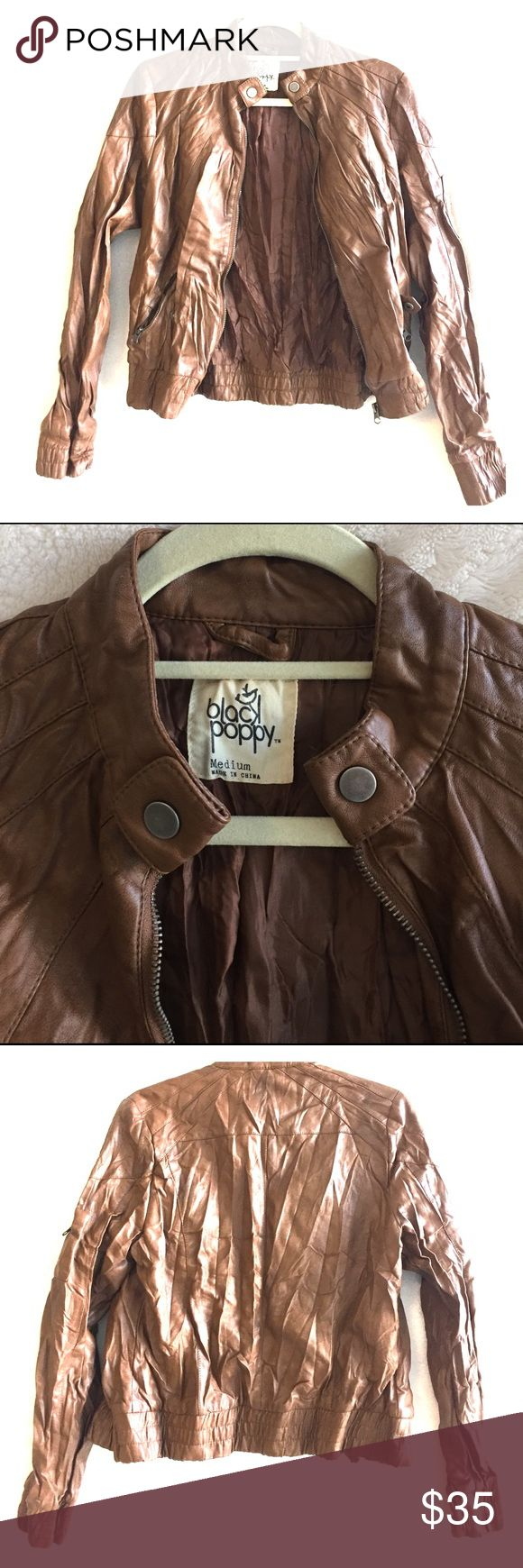Brown Faux Learher Bomber Jacket Like new condition brown bomber for the spring and fall. Zipper detail on sleeves, purchased at PacSun. Runs small - I usually wear a small and this is a medium. Black Poppy Jackets & Coats