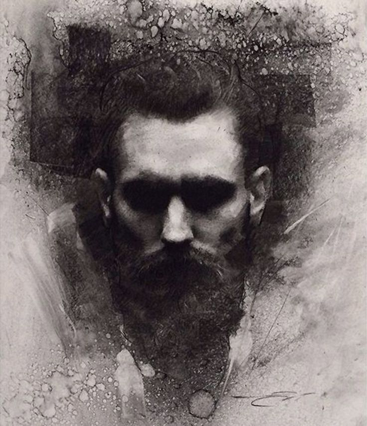 """Ricki Hall""-  Casey Baugh (American, b. 1984) {contemporary figurative #expressionist art male head bearded man face portrait grunge monochrome charcoal drawing #loveart} <3 caseybaughfineart.com"