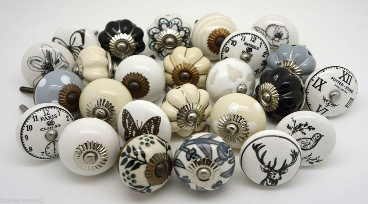 Vintage Ceramic Knobs by These Please Cupboard Door Drawer Kitchen Knobs Handles