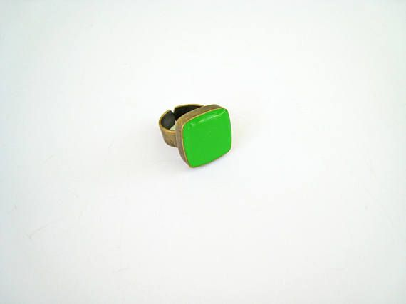 Lime green ring bronze peridot green statement ring
