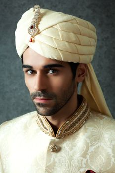 Cotton silk turban embellished with brooch from #Benzer #Benzerworld #MensAccessories #WeddingAccessories