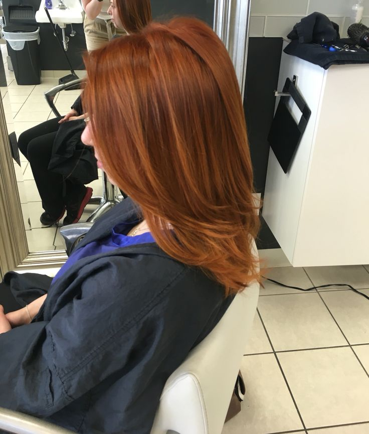 Awesome gold/red hair color using Wella! 7/34 , 6/34 , 7/4 20 volume! Glazed with Wella relights /34 13 volume!