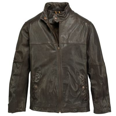Timberland Men's Mount Major Leather Bomber Jacket (Cocoa)