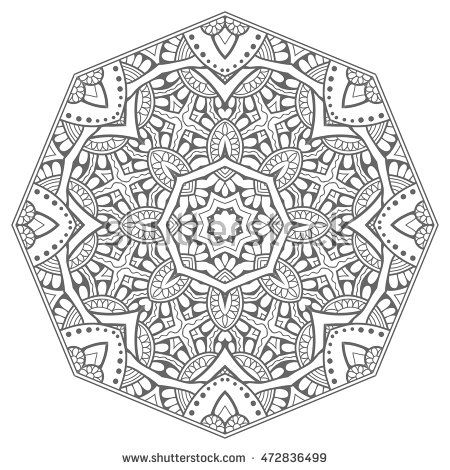 Black and white geometric mandala background. Round ornament decoration, isolated design element. Doodle art for coloring book. Tribal ethnic floral mandala sketch pattern for coloring page