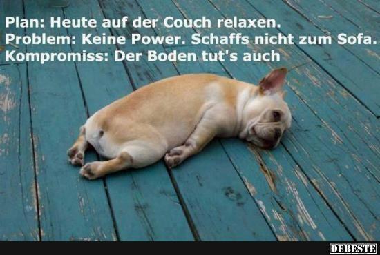 Plan: Heute auf der Couch relaxen.. | Lustige Bilder, Sprüche, Witze, echt lustig