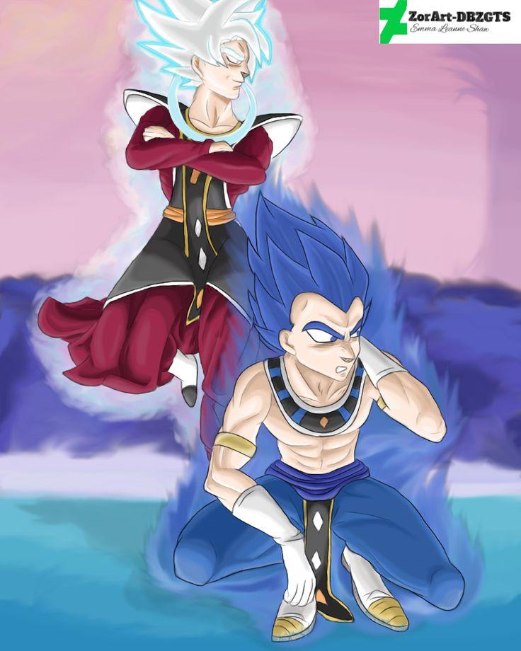 GoD Royal Blue (?) Vegeta and Mastered Ultra Instinct (MUI) Angel Goku by ZorArt-DBZGTS