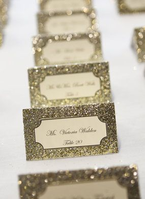 Make your escort cards an eye-catcher with a pop of glitter! Photo credit: Jessica Strickland Photography