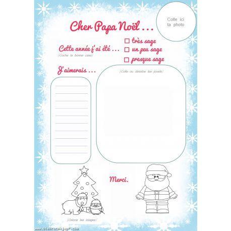 Lettre Papa Noël téléchargeable gratuitement au format PDF sur notre site.
