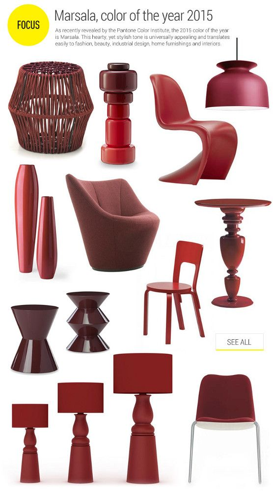 #marsala color of the year 2015 - As recently revealed by the Pantone Color Institute, the 2015 color of the year is Marsala. This hearty, yet stylish tone is universally appealing and translates easily to fashion, beauty, industrial design, home furnishings and interiors.