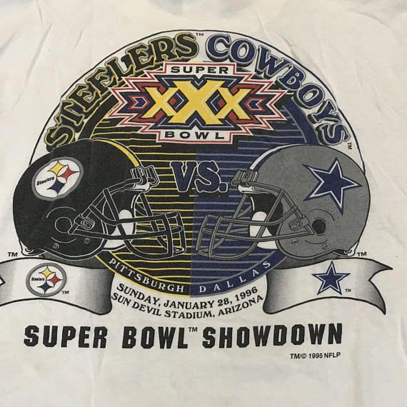 Vintage 90s Super Bowl XXX T Shirt Mens L Steelers vs Cowboys