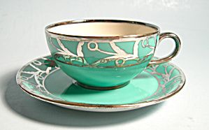 Rosenthal Style Aqua Silver Overlay Demi Cup and Saucer
