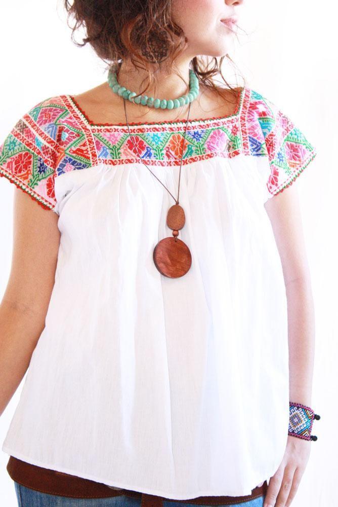 Pajaritos y peyotitos manta vintage mexican blouse eu