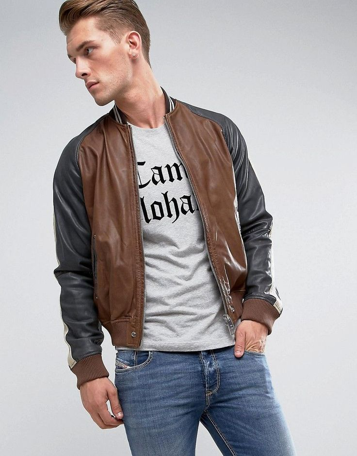 Diesel L-Truly Leather Jacket - Brown