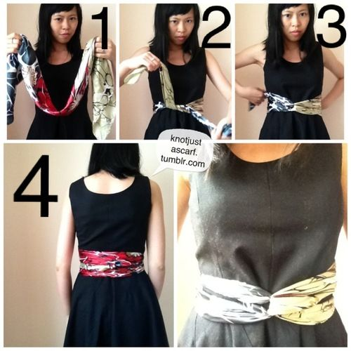 Twist Belt - Tie the silk scarf around your waist, swap ends to the opposite hand, then tie at the back to secure (ways to tie a silk scarf by Knot Just a Scarf)