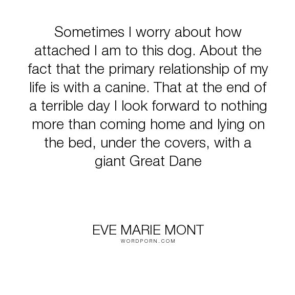 "Eve Marie Mont - ""Sometimes I worry about how attached I am to this dog. About the fact that the primary..."". relationships, dogs, love, canine-love, canines, dogs-and-humans, great-danes"