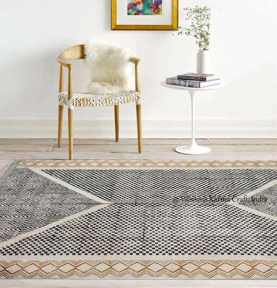 Block Printed Dhurrie Rug Handcrafted In Jaipur Rug Is Handmade