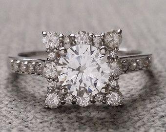 """Zafiro blanco y Plaza de Halo del anillo de compromiso diamante Vintage antiguos 14K oro blanco exclusivo """"la Penélope"""""""