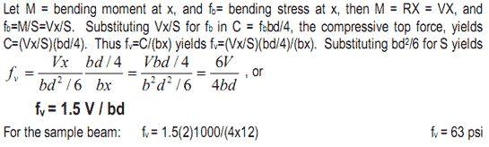 max unit horizontal shear stress in wood