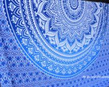 Indiase mandala tapijt, blauwe ombre queensize tapijt blad, hippie blad, muur tapijt, boho decor, slaapzaal decor, Boheemse bed vel