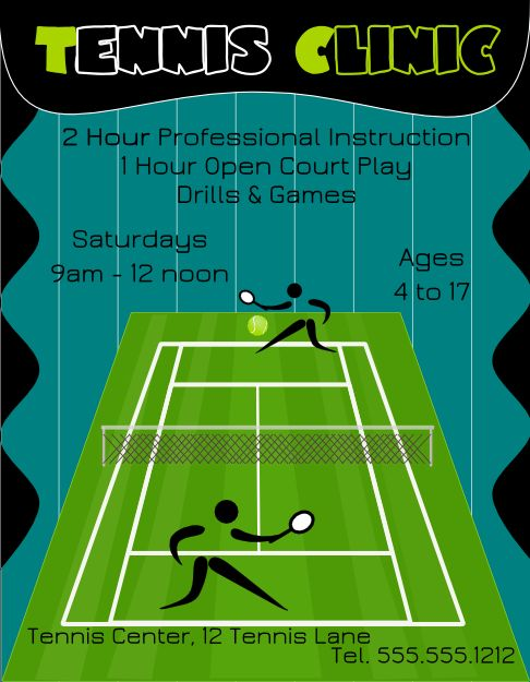 Download a Free Tennis Clinic Flyer Template for Inkscape | FlyerTutor.com http://www.flyertutor.com/flyer-templates/view-tennis-clinic-flyer-template.html #tennis #flyertemplate #inkscape