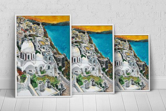 Greece Santorini Art Print Poster on Etsy, $27.35 AUD