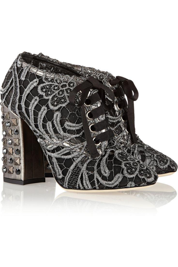 Roller pump shoes - Dolce Gabbana Vally Embellished Macram Ankle Boots Net A Porter High Rollershoes Heelsankle
