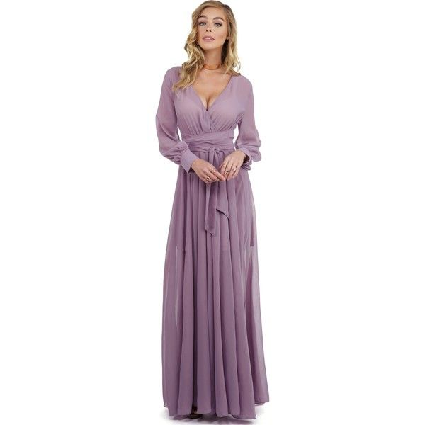 Charlotte Lavender Romance Dress ($55) ❤ liked on Polyvore featuring dresses, purple dress, lavender cocktail dress, long sleeve purple dress, see-through dresses and long sleeve dress