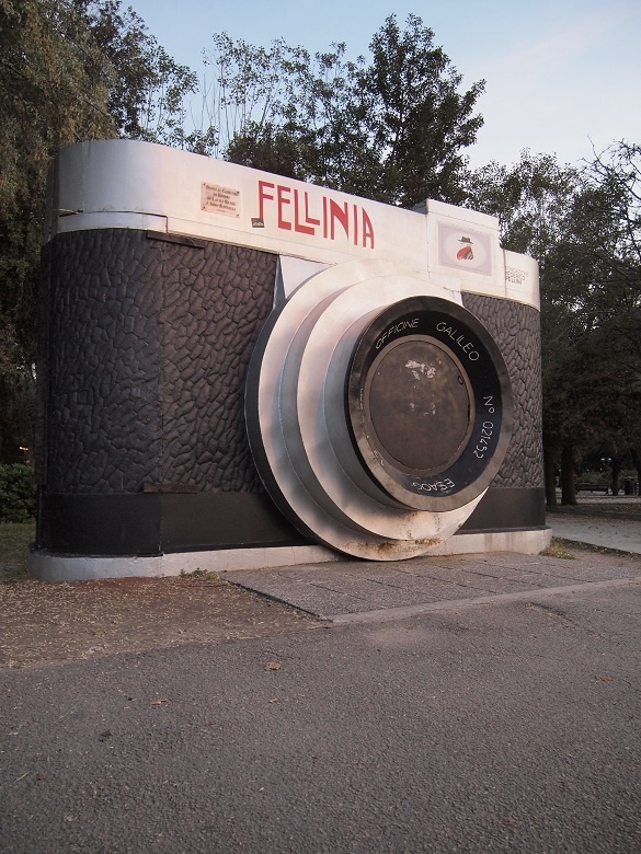 """Camera monument to Fellini along the Rimini beach"" - ""Intro to BlogVille Rimini. The sunset in Emilia-Romagna"" by @Keane Li"