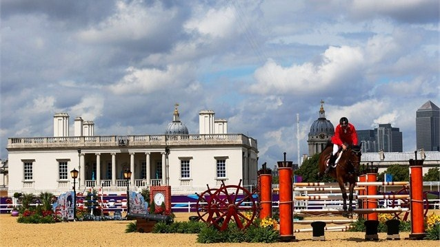 Rodrigo Carrasco of Chile rides Or De La Charboniere  Rodrigo Carrasco of Chile riding Or De La Charboniere competes in the 1st Qualifier of Individual Jumping on Day 8 of the London 2012 Olympic Games at Greenwich Park.