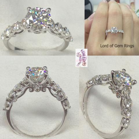 Round Moissanite Engagement Ring 14K White Gold 6.5mm & 3mm