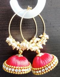 Jewellery | Silk Thread | Red Jhumka with ring | CardsNCrafts