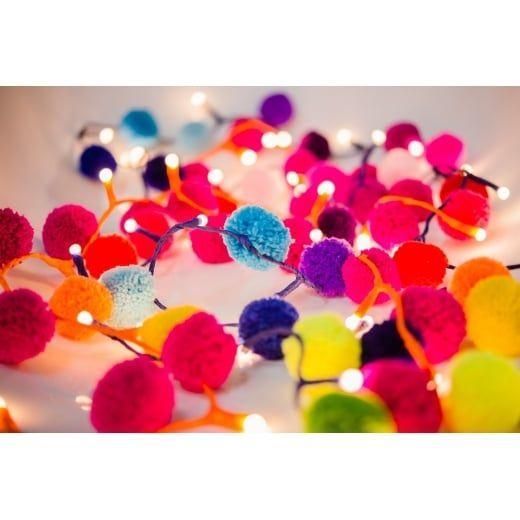 PomPom Galore Rainbow Pom Pom Multi Coloured Fairy LED String Lights