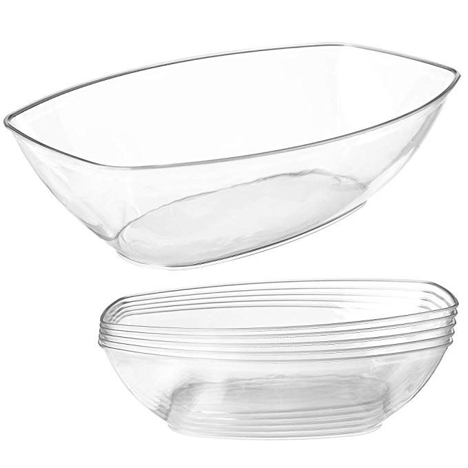 Amazon Com Clear Plastic Serving Bowls For Parties 64 Oz 5 Pack Oval Disposable Serving Bowls Clear Chip Bowls Party Chip Bowl Candy Bowl Snack Bowls